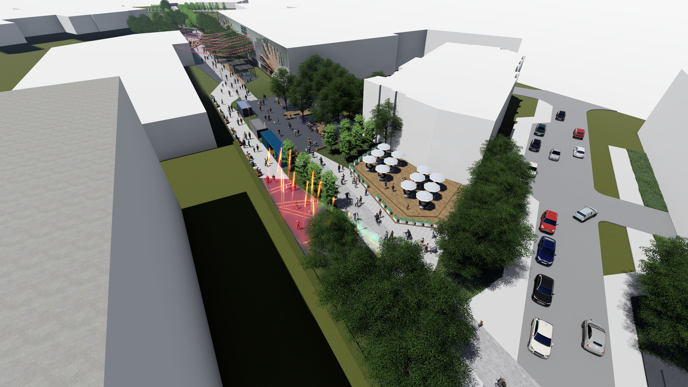 Conceptual rendering of Nickel Plate Trail at North Street with seating area and light display.