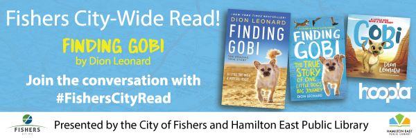 fishers city-wide read finding gobi by dion leonard. join the conversation with #FishersCityRead. pr