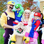 family dressed as mario brothers