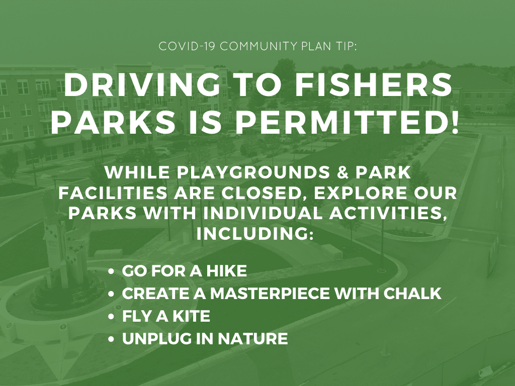 COVID-19 COMMUNITY PLAN TIP: driving to fishers parks is permitted. while playgrounds & park facilit